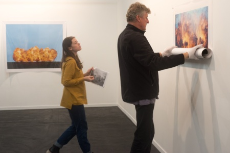 Colour Factory director Phil Virgo and gallery director Cathy Marshall installing the show.